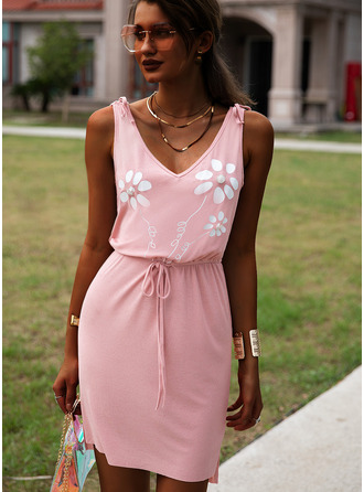 Floral Print Sheath V-Neck Sleeveless Midi Casual Dresses