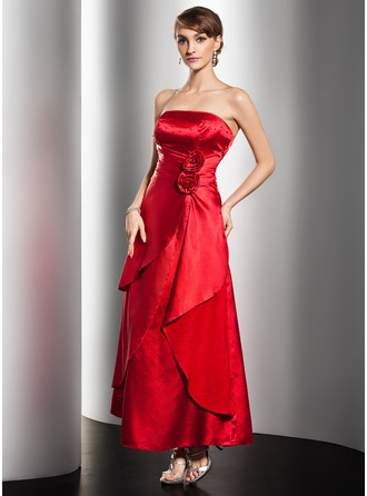 A-Line/Princess Strapless Ankle-Length Charmeuse Holiday Dress With Ruffle Beading Flower(s)