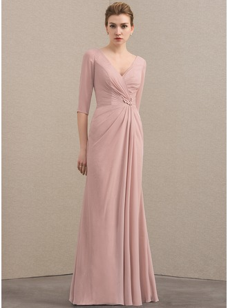 V-neck Floor-Length Chiffon Sequined Mother of the Bride Dress