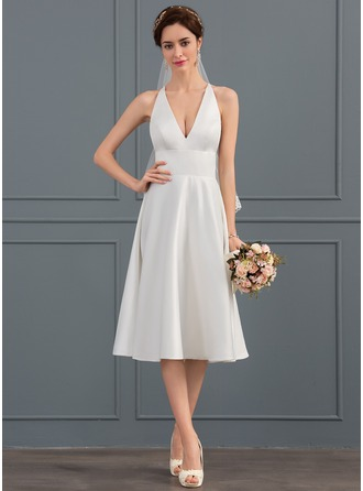 V-neck Knee-Length Satin Wedding Dress