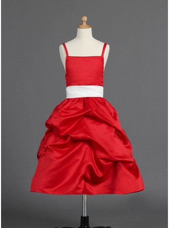A-Line/Princess Tea-length Flower Girl Dress - Satin Sleeveless With Sash/Bow(s)/Pick Up Skirt