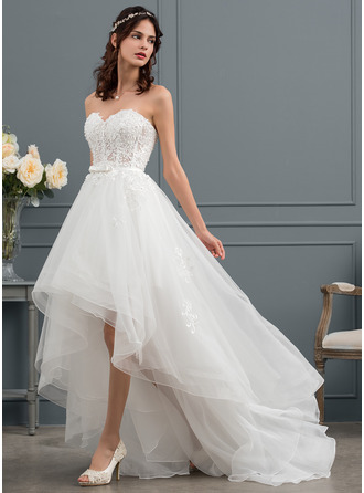 Sweetheart Asymmetrical Tulle Wedding Dress With Beading Sequins Bow(s)