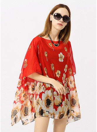 Floral Light Weight/fashion Polyester Beach Poncho