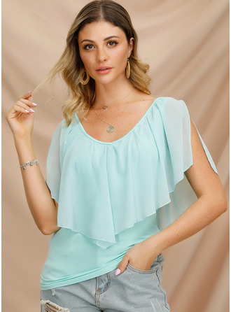 1/2 Sleeves Batwing Sleeves Chiffon Cotton Round Neck Blouses