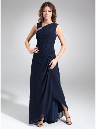 V-neck Asymmetrical Chiffon Mother of the Bride Dress With Ruffle Beading