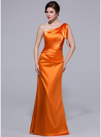 Trumpet/Mermaid One-Shoulder Floor-Length Charmeuse Bridesmaid Dress With Cascading Ruffles