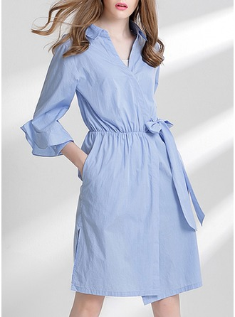 Polyester With Stitching/Crumple/Ruffles Knee Length Dress