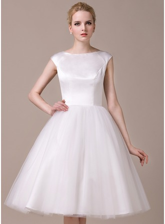 A-Line/Princess Scoop Neck Knee-Length Satin Tulle Wedding Dress