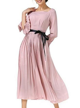 Polyester With Stitching/Resin solid color Midi Dress