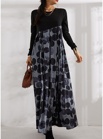 Print A-line Round Neck Long Sleeves Maxi Casual Skater Dresses