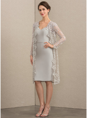 Sheath/Column V-neck Knee-Length Chiffon Mother of the Bride Dress With Beading Sequins
