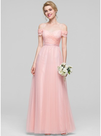 A-Line/Princess Off-the-Shoulder Floor-Length Tulle Bridesmaid Dress With Ruffle