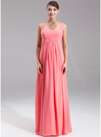 Empire Scoop Neck Floor-Length Chiffon Maternity Bridesmaid Dress With Ruffle