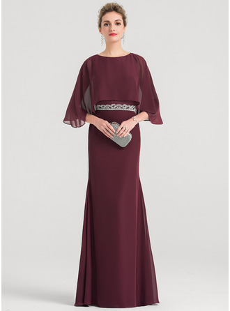 Sheath/Column Scoop Neck Floor-Length Chiffon Evening Dress