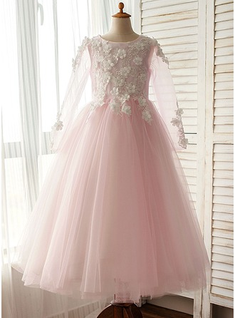A-Line/Princess Floor-length Flower Girl Dress - Organza/Satin/Tulle Long Sleeves Scoop Neck With Flower(s)
