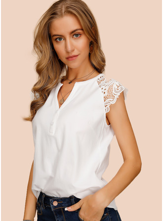 Cap Sleeve Cotton V Neck Blouses