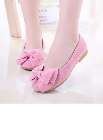 Girl's Suede Flat Heel Closed Toe Flats With Bowknot