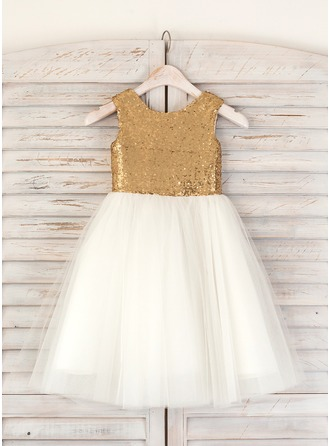 A-Line/Princess Tea-length Flower Girl Dress - Tulle Sequined Sleeveless Scoop Neck