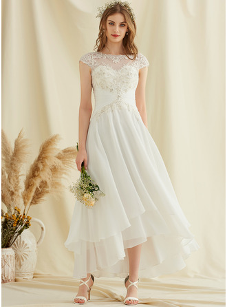 A-Line Scoop Neck Asymmetrical Chiffon Lace Wedding Dress