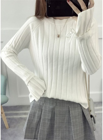 Polyester Round Neck Plain Sweater