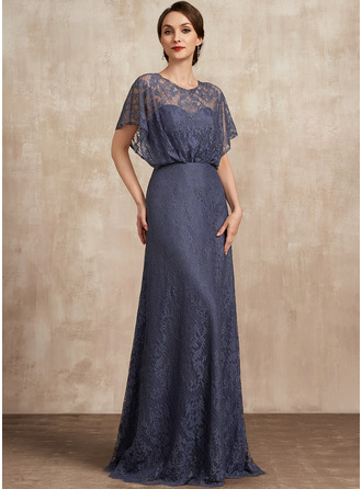 Scoop Neck Floor-Length Lace Mother of the Bride Dress