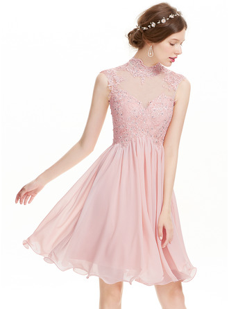 A-Line/Princess High Neck Knee-Length Chiffon Homecoming Dress With Beading