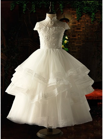 Ball Gown Floor-length Flower Girl Dress - Organza/Satin/Tulle Short Sleeves Stand Collar With Appliques