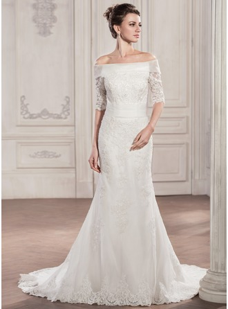 Trumpet/Mermaid Off-the-Shoulder Chapel Train Tulle Lace Wedding Dress With Ruffle