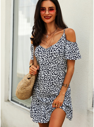 Floral Print Shift Cold Shoulder Short Sleeves Midi Casual Vacation Dresses