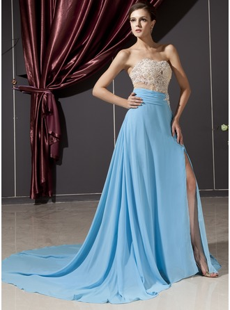 A-Line/Princess Sweetheart Chapel Train Chiffon Tulle Evening Dress With Beading Appliques Lace Split Front