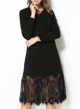 Cotton With Lace/Stitching Knee Length Dress