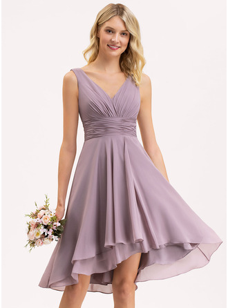 V-neck Asymmetrical Chiffon Cocktail Dress With Ruffle