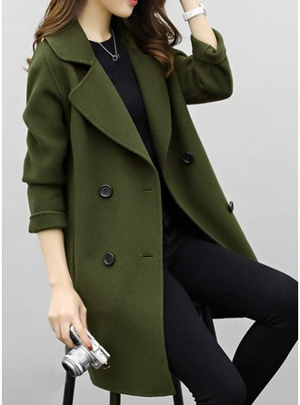 Cotton Long Sleeves Plain Wool Coats Coats