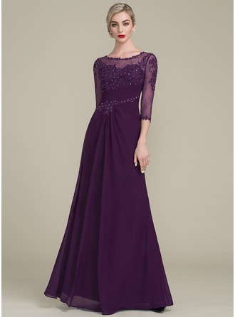 A-Line/Princess Scoop Neck Floor-Length Mother of the Bride Dress With Ruffle Beading Sequins
