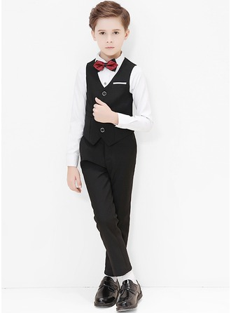 Boys 4 Pieces Classic Ring Bearer Suits /Page Boy Suits With Shirt Vest Pants Bow Tie