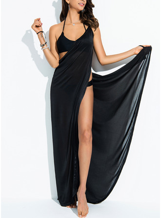 Elegant Solid Color Polyester Spandex Cover-ups