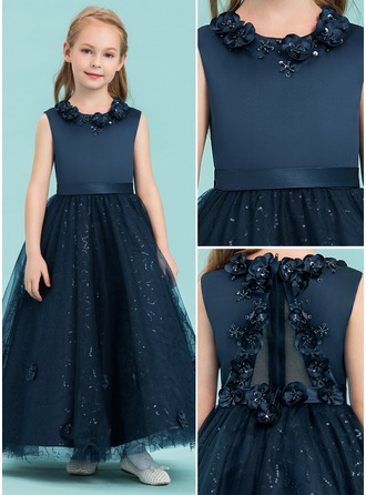 Ankle-length Flower Girl Dress - Satin Tulle Sleeveless Scoop Neck With Beading Flower(s) Sequins
