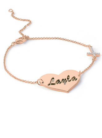 Christmas Gifts For Her - Custom 18K Rose Gold Plated Sterling Silver Delicate Chain Bridesmaid Bracelets Name Bracelets With Heart Diamond