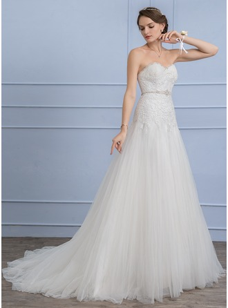 A-Line/Princess Sweetheart Court Train Tulle Lace Wedding Dress With Beading Sequins