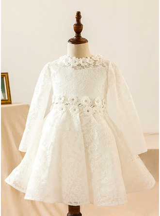 A-Line/Princess Knee-length Flower Girl Dress - Satin/Lace Long Sleeves Scoop Neck With Lace/Flower(s)
