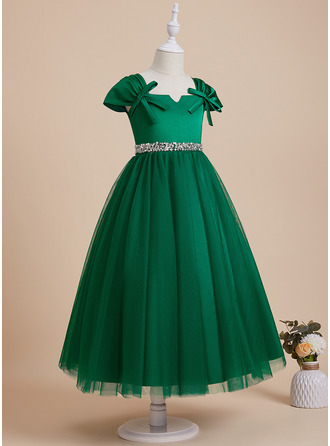 Ball-Gown/Princess Ankle-length Flower Girl Dress - Satin Tulle Sleeveless V-neck With Beading Sequins Bow(s)
