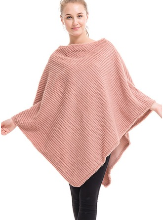 Solid Color Oversized/simple Artificial Wool Poncho