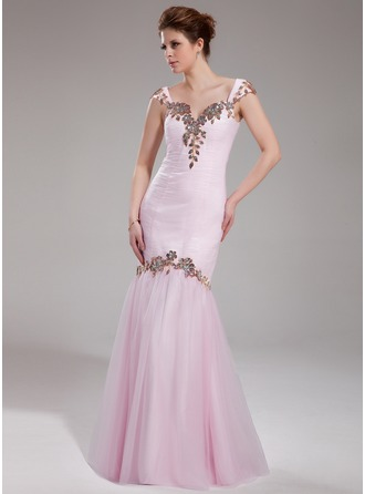 Trumpet/Mermaid Sweetheart Floor-Length Tulle Prom Dress With Ruffle Beading Appliques Lace Sequins
