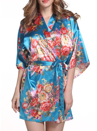 Polyester Bride Bridesmaid Floral Robes