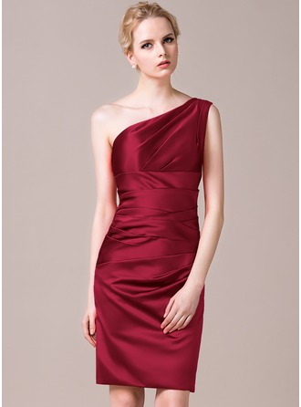 Sheath/Column One-Shoulder Knee-Length Satin Bridesmaid Dress With Ruffle