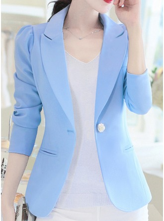 Polyester 3/4 Sleeves Plain Blazer ()