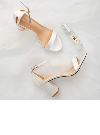 Women's Satin Chunky Heel Peep Toe Sandals