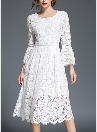 Lace With Lace/Stitching/Hollow/Crumple/See-through Look Knee Length Dress