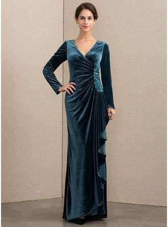 V-neck Floor-Length Velvet Evening Dress With Beading Sequins Cascading Ruffles