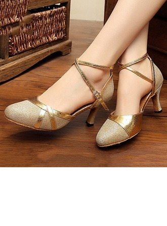 Women's Sparkling Glitter Heels Pumps Latin Modern Party With Ankle Strap Dance Shoes